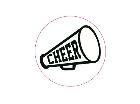 500 Cheerleading Megaphone Stickers (1 Roll of 500 Stickers)
