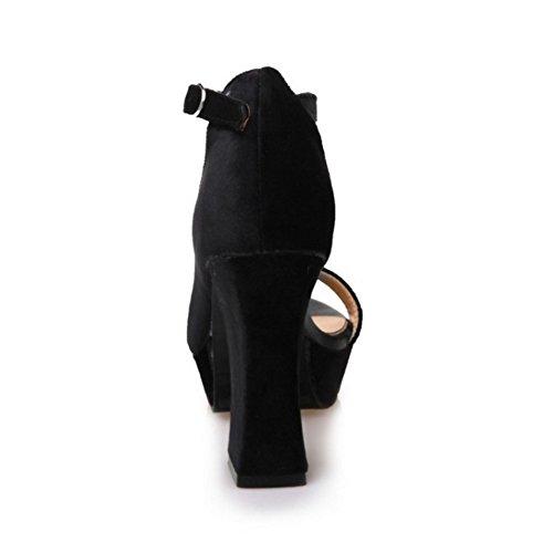 COOLCEPT Mujer Moda Correa de Tobillo Sandalias Tacon Alto Ancho D'orsay Peep Toe Plataforma Zapatos Negro