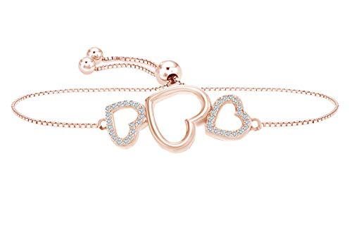 (AFFY Mothers Day Jewelry Gifts Round Cut Simulated White Sapphire Triple Heart Bolo Bracelet in 14k Rose Gold Over Sterling Silver-9.0