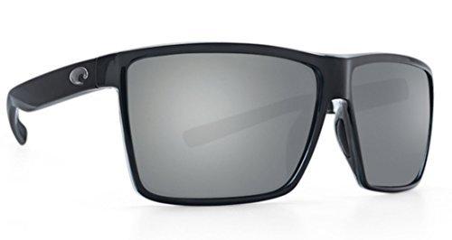 Costa Rincon Sunglasses Shiny Black Frame / Silver Mirror Gray 580P Plastic Lenses