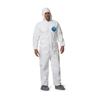DuPont TY122S Disposable Elastic Wrist, Bootie & Hood White Tyvek Coverall Suit 1414, XX-Large