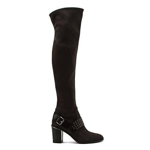 MICHAEL Michael Kors Womens Brody Over the Knee Boot Charcoal Suede/Vachetta 8 M DR66vIQuB