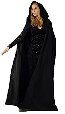 Ridge & Queens Full Length Cloak/Cape with Hood for Adults (Black)