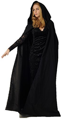 Cloak Costumes (Full Length Cloak/Cape with Hood for Adults (Black))
