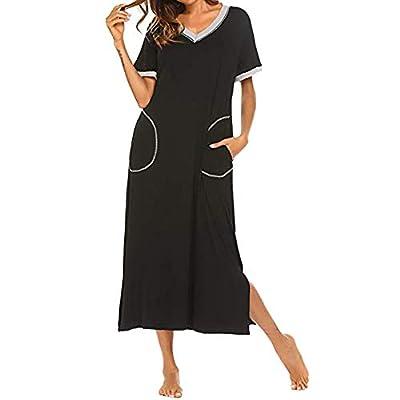 ZYAPCNGN Women's Nightshirt Dress Long Dress Short Sleeve Nightgown Ultra-Soft Full Length Sleepwear Dress: Clothing