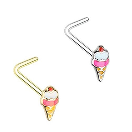 2-Pack Set Ice Cream Cone Steel Nose Rings 20G Bone or L-Shaped (L-Shaped)