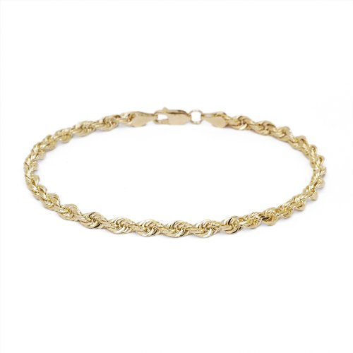 7 Inch 10k Yellow Gold Diamond Cut Hollow Rope Chain Bracelet and Anklet for Men & Women, 4mm by SL Chain Collection