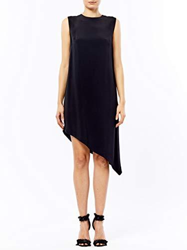 Nicole Miller Women's Crinkle Satin Back Crepe Asymmetrical Sheath, Black, L