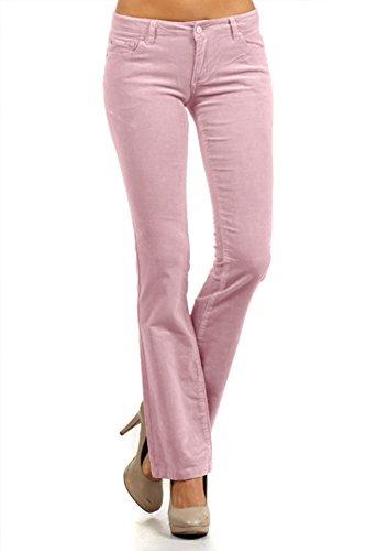 S M L XL XXL Juniors Teens Corduroy Pants Low Rise Boot Cut Work School Light Pink Size 7