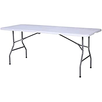 Mecor 6ft Folding Table Portable Plastic Dining Table With Handle And Aluminum Table For Indoor Outdoor Picnic Party Campingwhite 6 Ft