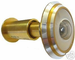 New 290 Degree Peephole Wide Angle Door Viewer in Gold (Angle Wide Peephole)
