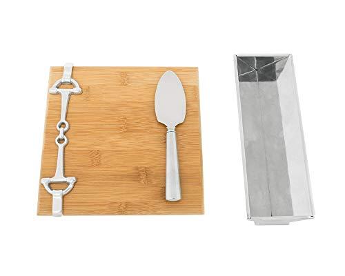 Arthur Court Designs Bamboo Cheese Board with Aluminum Equestrian Bit Accent Cracker Tray and Spreader