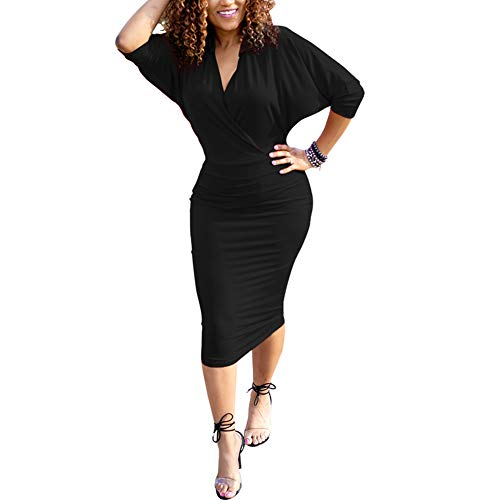 HOOYON Plus Size Dress Women's Off Shoulder Short/Long Sleeve Bodycon Mini Dress (L, Black-3)