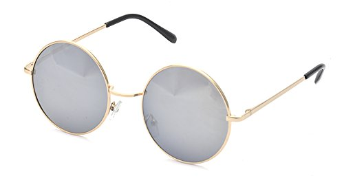 ALWAYSUV Classic Round Circle Mirrored Lens Thin Frame John Lennon Sunglasses - Sunglasses Lennon Oversized John