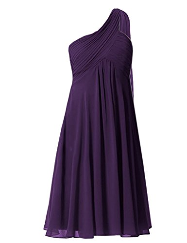 FavorGrace One Shoulder Ruffles Padded Short Chiffon Bridesmaid Dresses (After Six Stretch Bridesmaid Dress)