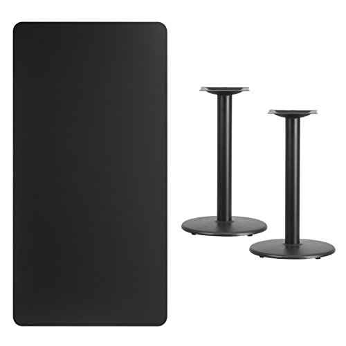 Flash Furniture 30'' x 60'' Rectangular Black Laminate Table Top with 18'' Round Table Height Bases by Flash Furniture