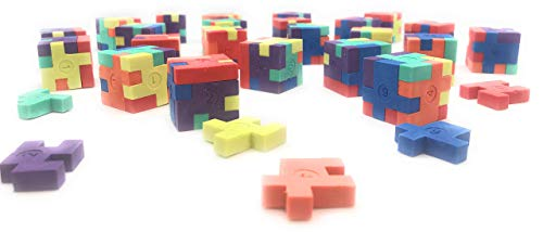 24 pc Puzzle Cube Erasers School Teacher Supplies Classroom Stationery Party -