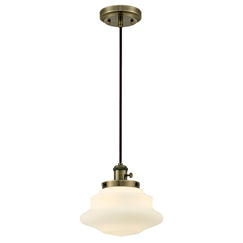 Westinghouse Lighting 6346100 One-Light Mini Pendant, Antique Brass Finish with Frosted Opal Glass,