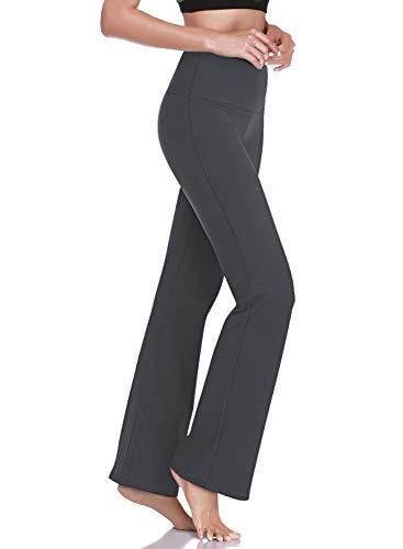 "HISKYWIN 27""/29""/31""/33"" Inseam Petite/Regular Womens Bootcut Yoga Pants, Tummy Control Workout Running Bootleg Flare Pants F201-Dark Grey-M"