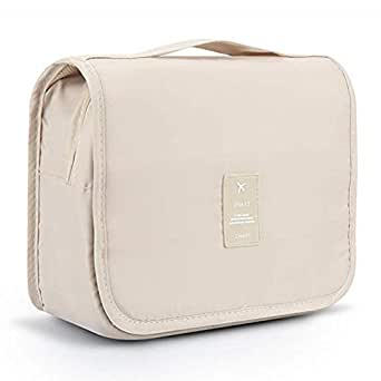 FLORICA Hanging Toiletry Bag Large Cosmetic Makeup Bag Travel Storage Organizer for Men Women with Sturdy Hook (Beige)