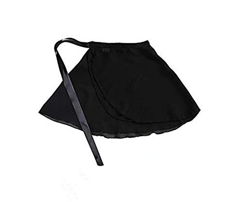 - Adult Ladies Ballet Wrap Over Scarf Dance Leotard Skate Tutu Skirt Chiffon 38cm (Black)