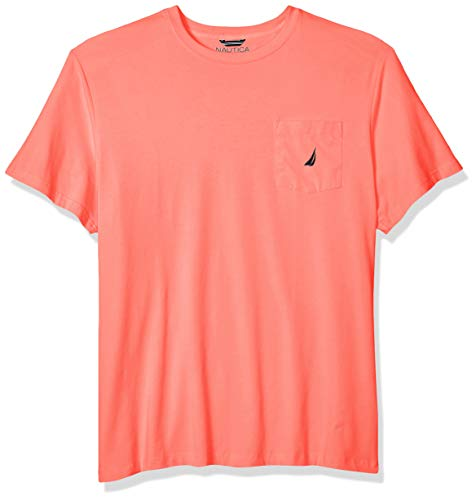 Nautica Men's Solid Crew Neck Short Sleeve Pocket T-Shirt, Pale Coral, 3X - Pocket 3 X