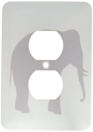 3dRose lsp_164908_6  Grey Elephant Silhouette. Gray Animal on White Modern Minimalist Style 2 Plug Outlet Cover by 3dRose