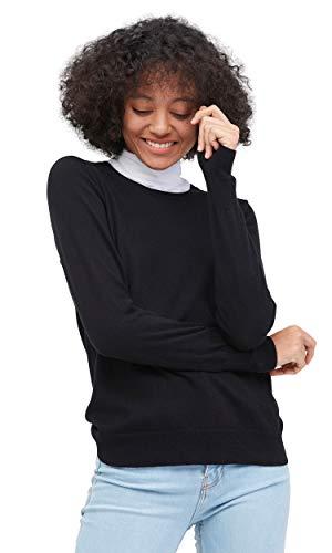 Silk Blend Knit Sweater - LilySilk Women's Knit Black Silk Sweater Cashmere Blend Soft, Crewneck, Long Sleeve, Pullover, Solid Medium