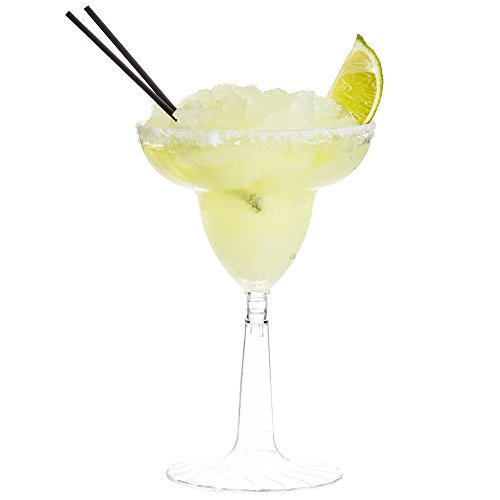24 Count CLEAR 12 oz. Disposable Plastic Margarita Glass Flairware w/ Signature Party Picks -