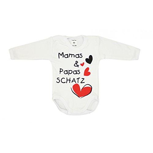 Baby Body mit Aufdruck: MAMAS & PAPAS SCHATZ und Herzmotiv Langarm-Body Mädchen Babybody Jungen, Farbe: Weiß - Mamas Papas Schatz, Größe: 68