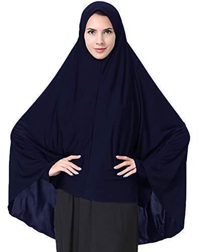 Ababalaya Women's Elegant Modest Muslim Islamic Ramadan Soft Lightweight Jersey Hijab Long Scarf,Navy Blue,L ()