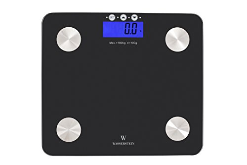 Digital Body Fat Scale w/ 400 lb. Capacity & Auto Recognition Technology Body Fat Scale - Measures Weight, Body Fat, Water, Bone Mass & BMI with Tempered Glass by Wasserstein … (Compact)