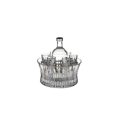 - Waterford Crystal, Lismore Diamond Vodka Set in Chill Bowl with Silver Insert