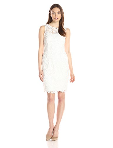 Adrianna-Papell-Womens-Illusion-Neckline-Lace-Dress