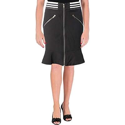 Yigal x AQUA Womens Flounce Hem Zip Front Mini Skirt