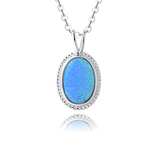 - Fancime Sterling Silver Blue Created Opal Pendant Necklace Gold Plated Dainty Women Oval Necklace 16+2''