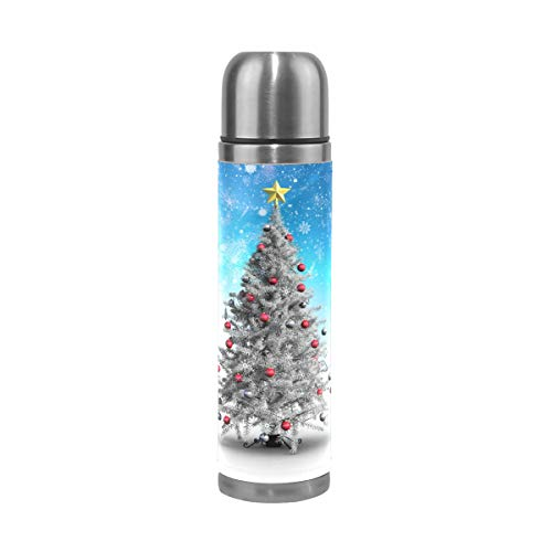 - Snow Covered Christmas Tree Stainless Steel Water Bottle Leak-proof Double Walled Vacuum Insulated Flask Travel Mug Thermos Coffee Cup Mug Genuine Leather Cover 17 Oz