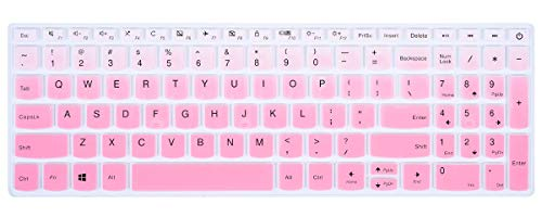 (Silicone Keyboard Cover for Lenovo IdeaPad 320/330/330s 15.6 inch, Lenovo IdeaPad 320/330/330s 17.3 inch, Lenovo IdeaPad 520 15.6 inch, Lenovo-A12 15.6 Laptop Keyboard Protective Skin, Gradual Pink)