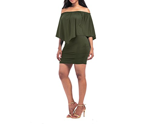 Women's Off Dress Amore Army Bridal Summer Ruffle Shoulder Bandage Green FBExTqwx5