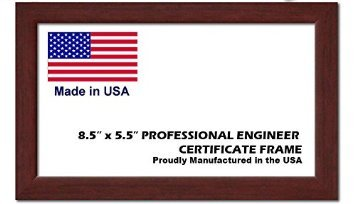 Professional Engineer License Certificate Wood Frame - 8.5 x 5.5 Inches - Brown Wood