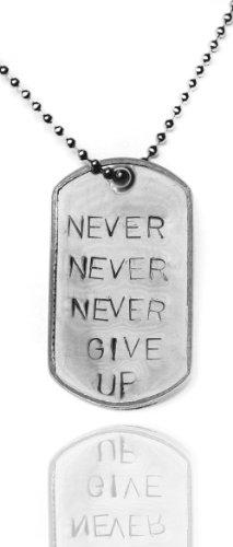 "Stainless Steel ""Never Give Up"" Military Style 2 Inch Dog Tag Necklace, 26 Inch"