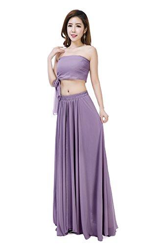 Sinreefsy Women Summer Chiffon High Waist Pleated Big Hem Full/Ankle Length Beach Maxi Skirt(X-Large/Orchid)