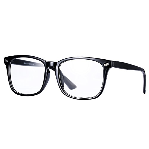 Pro Acme New Wayfarer Non-prescription Glasses Frame Clear Lens Eyeglasses (Black)