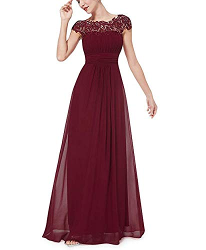 (RQH Women's Cap Sleeves Elegant Lace Bridesmaid Maxi Party Dress, Boat Neck Evening Gown)