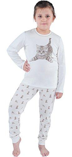 Italian Fashion IF Mädchen Schlafanzug SimbaKids 0223 (Ecru, 134-140)