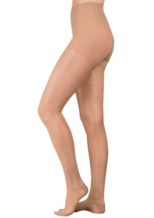 Juzo Naturally Sheer 2102AT Pantyhose 30-40mmhg (Black-Short-4 (IV)-Open Toe) by Juzo