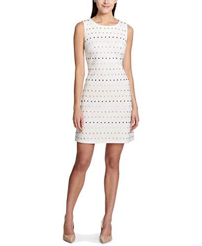 Tommy Hilfiger Women's Embellished Ponte-Knit Shift Dress (6) Ivory