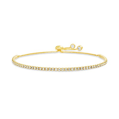 Devin Rose Adjustable Bolo Style Tennis Bracelet for Women Made with 2mm Swarovski Crystal in Yellow Gold Plated Brass (Yellow)