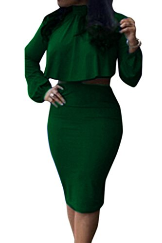 Women's High Neck Cloak Cape Top Bodycon Skirt 2 Pieces Dress L Dark Green Two Piece Dress Skirt