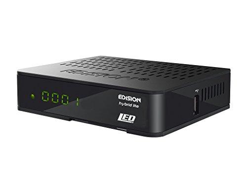 Edision Progressiv Hybrid lite LED DVB-T/C Kabel/Terrestrischer Receiver für digitales Kabel-und Terrestrisches Fernsehen (Full HD, HDMI, SCART, S/PDIF, USB, Wifi, Internet, Display) schwarz